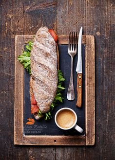 coffee and a sandwich by Natalia Lisovskaya, via Food Photography Styling, Food Styling, Rustic Photography, Photography Ideas, Good Food, Yummy Food, Cafe Food, Food Design, Food Presentation
