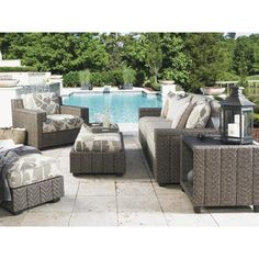 Tommy Bahama Outdoor Blue Olive 4 Piece Deep Seating Group & Reviews | Wayfair