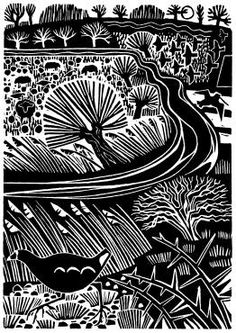 COOT AND STREAM, January, 2014, Carry Akroyd, linocut, c7 1/2 x 5 in., Oundle near the edge of the Fens, Northamptonshire, UK.