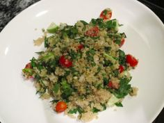 FOOD BABE'S QUINOA TABBOULEH SALAD  Ingredients  1 cup dry quinoa  1 large bunch parsley chopped (remove long stems)  1/3 cup mint leaves chopped  1 cup of grape or cherry tomatoes cut in half  1/4 of a yellow or white onion finely diced  1 garlic clove minced  1 tbsp olive oil  juice of one lemon  1/2 tsp salt  1/4 tsp cracked black pepper  optional toppings: sheep's milk feta cheese or avocado