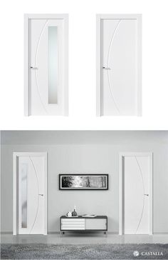 Puerta de Interior Blanca | Modelo Bacon de la Serie Lacada de Puertas Castalla. Puerta Lacada blanca. Consulta todas sus posibles combinaciones en info@puertascastalla.com | puertas Interiores blancas | puertas de interior blancas | puertas interiores lacadas | puertas de interior lacadas | puertas blancas Mid Century Modern Decor, Midcentury Modern, Door Spice Rack, Flush Doors, Interior And Exterior, Interior Design, Door Wall, Cool Furniture, New Homes