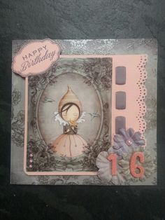 Birthday Card using Santoro London paper, cardstock sticker, blooms, Martha Stewart doily lace edge punch, pink glitter Thicker's numbers, Happy Birthday stamp from Next   and Colour Core card