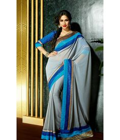Marvelous Gray Embroidered Saree