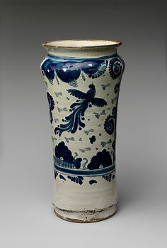 Apothecary Jar Date: 1700–1750 Geography: Mexico Culture: Mexican Medium: Majolica earthenware Dimensions: H. 11 1/4 in. (28.6 cm) Classification: Ceramics Credit Line: Gift of Mrs. Robert W. de Forest, 1911  Met 11.87.12