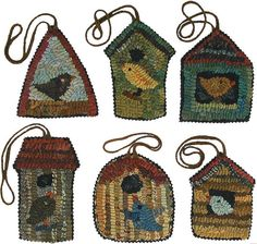 Birds in birdhouse ornaments instant download PDF version of the Birdhouse Paper Pattern set by Karen Kahle. You get 6 birdhouse designs for rug hooking, punch hooking, applique, and punchneedle embroidery. Each pattern has 2 different sizes, so you can hook the larger 4 to 5 patterns, or punchneedle the smaller 2+ patterns. Every birdhouse has its own special bird in residence, and makes a wonderful gift, ornament, tag, or decorative embellishment to a larger project. Decorate a whole tree…