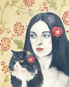 Cat and Woman Watercolor PRINT  Tuxedo Cat Red by WaterInMyPaint, $15.00