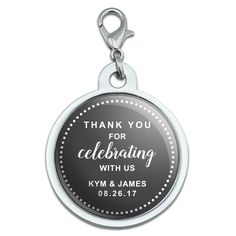Graphics and More Personalized Custom Dark Grey Gray Dotted Circle Thank You for Celebrating with Us Wedding Chrome Plated Metal Small Pet ID Dog Cat Tag * Click image for more details. (This is an affiliate link and I receive a commission for the sales)