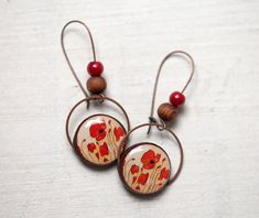 Red Poppy Jewelry set  Earrings and Necklace S024 by BeautySpot, $45.00