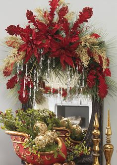 Decorated Swags & Wreaths: POINSETTIA DAMASK