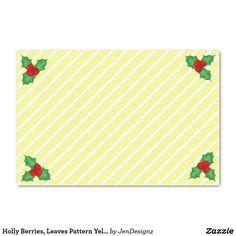 Holly Berries, Leaves Pattern Yellow Stripe Tissue