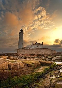 St Mary's Lighthouse, Northumberland, Great Britain