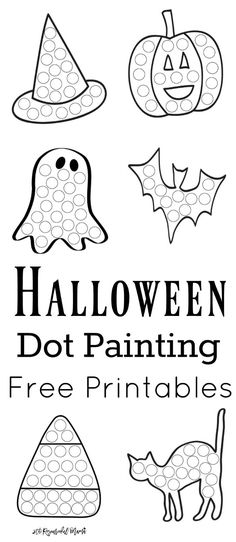 These Halloween Dot Painting Worksheets Are A Fun Mess Free Painting Activity For Young Kids That Work On Hand-Eye Coordination And Fine Motor Skills. Get Your Free Printable Now Toddlers And Preschoolers Love Them. They Work Great With Do A Dot Markers. Fall Preschool, Toddler Preschool, Toddler Crafts, Preschool Crafts, Halloween Crafts Kindergarten, Toddler Halloween Crafts, Kids Crafts, Theme Halloween, Holidays Halloween