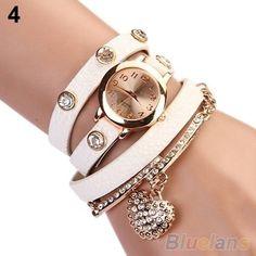 Heart Rhinestone Bracelet Watch Quartz Movement Wrist Watch for Girl Women 457 #unbranded #Casual