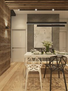 love the wood slat wall Home Upgrades, House Design, Living Room Decor Apartment, Interior Architecture, House Interior, Interior Design Dining Room, New Kitchen Designs, Living Room Design Modern, Modern Apartment