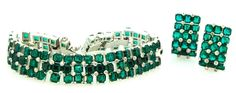 Vtg JOMAZ MAZER Wide Triple Row Open-Back Emerald Rhinestone BRACELET & EARRINGS #JomazMazer