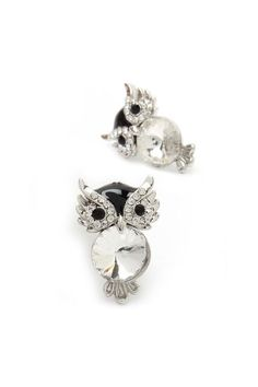 Crystal owl earrings, cute!