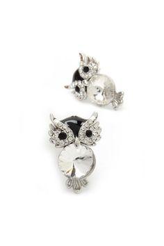 Crystal owl earrings, cute!