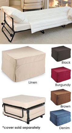 Fold-Out Ottoman Bed Hide a guest bed in plain sight! Ottoman by day...bed by night. I LOVE THIS!!! $199