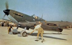 Spitfire in Malta 15 May 1943.  Air Vice-Marshall Keith Park about to taxi out in his personal Spitfire V to mark the opening of Malta's new airstrip in Safi.