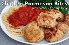 I have been trying to come up with healthy, fun dinners that my preschooler and toddler would be more interested in. Lately all they want is carbs and sweets so I've been thinking up ways to turn typical chicken dishes into more kid-friendly meals. And I've been craving chicken parmesan for a while …