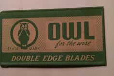 OWL Double Edge Safety Razor Blade AND Wrapper Rare RBW Vintage USA
