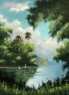 Sam Newton, b Vintage Florida, Old Florida, Nature Drawing, Coastal Art, Tropical Art, Amazing Nature, Art Pictures, Landscape Paintings, Watercolor Art