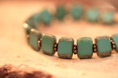 handmade bead bracelet // turquoise picasso czech by ShagbarkRoad,