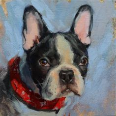 "Daily Paintworks - ""Bentley"" - Original Fine Art for Sale - © Oleksii Movchun Dog Artwork, Grey Dog, Dog Portraits, Portrait Paintings, Dog Memorial, Pet Memorials, Animal Paintings, French Bulldog, Original Art"