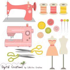 Couture avec Clip Art images Clipart Set 2  par CollectiveCreation, $4.00