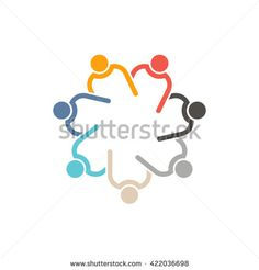 Teamwork 7 circle interlaced.Concept group of connected people , helping each other.Vector icon