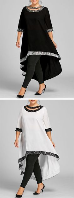 Plus Size Sequined Trim Dip Hem Dress - Zahra 2019 trends Vestidos Plus Size, Plus Size Dresses, Plus Size Outfits, African Wear, African Dress, African Fashion, Kitenge, Looks Plus Size, Full Figured Women