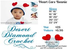 This adorable hat is a festive accessory for any Valentine's Day excitement! http://www.ddcrochet.com/product-catalog.php#!/Heart-Ears-Beanie/p/10073650/category=2347790 http://www.ravelry.com/patterns/library/010---heart-ears-beanie  #crochet #crochetdesigner #desertdiamondcrochet #heart hat #heartears #beanie #valentinesday