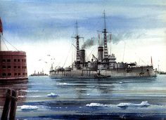 Watercolor of Andrei Pervozvanny at Kronstadt, by Vladimir Emyshev.