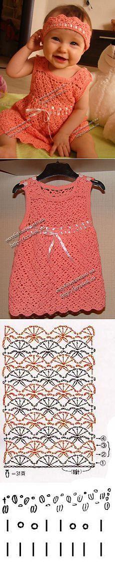 Персиковое платье и повязка для малышки - вязание крючком на kru4ok.ru [] # # #Crochet #Baby, # #Crochet, # #Tissue, # #Patterns