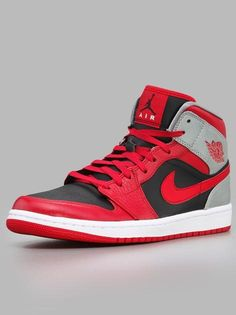 Air Jordan 1 Mid Fire Red Black Cement Grey Reflect Silver