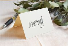 """Place card featuring The Postman's Knock """"Amy Style"""" faux calligraphy -- no dip pen + ink required! Calligraphy Worksheet, How To Write Calligraphy, Calligraphy Handwriting, Modern Calligraphy, Calligraphy Writing, Caligraphy, Beginner Calligraphy, Chalk Lettering, Brush Lettering"""