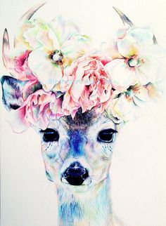 Deer with flower crown tattoo inspiration. So beautiful, lady head tattoo inspiration? Crown Drawing, Painting & Drawing, Animal Drawings, Art Drawings, Creation Art, Illustration Art, Illustrations, Urban Art, Body Art
