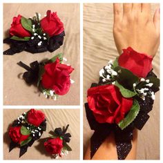 DIY PROM/FORMAL ARTIFICIAL CORSAGE AND BOUTONNIÈRE SET: Red Roses