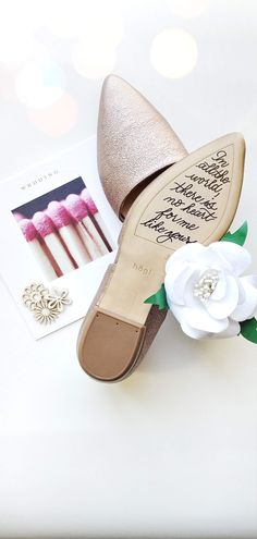 Talk about making your bride cry before walking down the aisle. Remind her that you can't wait to take your first steps together by writing a secret 'sole' mate message on the bottom of her wedding shoes. Bridal Shoes, Wedding Shoes, Wedding Day, Walking Down The Aisle, Messages, Make It Yourself, Bride, Airplane, Cry