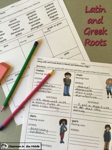 This updated resource now includes 21 activities plus a large slide presentation for teaching Latin and Greek roots The Teaching Latin, Teaching Language Arts, Teaching English, Teaching Ideas, Teacher Blogs, Teacher Stuff, Multiple Meaning Words, Prefixes And Suffixes, Middle School Writing