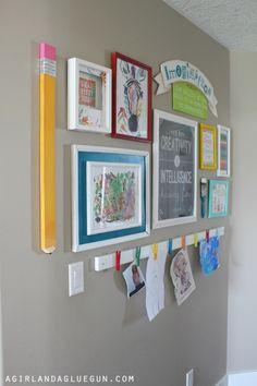Ideas Wall Gallery Art Kids Artwork For 2019 Diy Wand, Kids Art Space, Art For Kids, Kids Art Area, Kids Wall Decor, Diy Wall Art, Kid Decor, Wall Decorations, Kids Art Galleries