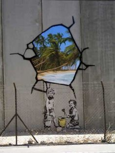 Another Banksy piece done on the Palestinian side of the West Bank barrier.
