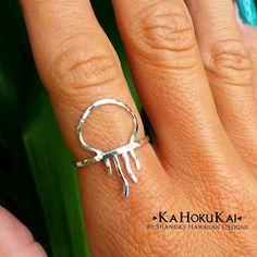 Meduse anello argento anello martellato 14K Gold di KaHokuKai
