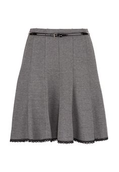 Tweed Skirt with Lace Trim