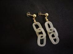Vintage 14k Chinese Carved White Jade Devil's Work  Earrings