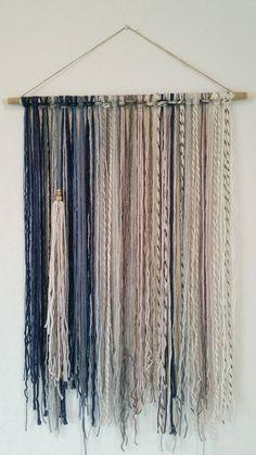 Tapestry Bohemian Yarn Tapestry Yarn Wall Hanging Blue Mauve Gray and Beige Yarn Wall Art, Yarn Wall Hanging, Diy Wall Art, Wall Hangings, Wall Decor, Mauve Living Room, Pink Bedroom Decor, Mauve Bedroom, Bohemian Wall Tapestry