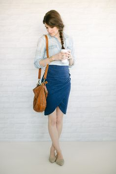 Chambray// Tulip Skirt// Pointed Neutral Flats// + Thick Gold Bracelet and Cognac Bag +
