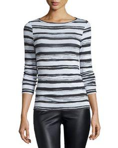 TBVHW BCBGMAXAZRIA Wylie Long-Sleeve Striped Top, Ecru Combo