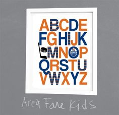 EDMONTON OILERS ABC nursery art print... by AreaFareKids on Etsy, $15.00
