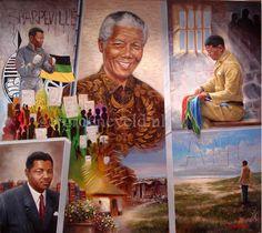 Tribute to Nelson Mandela Het leven van Mr.Nelson Mandela Op de achtergrond van zijn portret staan alle namen die een belangrijke rol in zijn leven hebben gespeeld. Zijn leven als amateur boxer, advocaat, politicus, gevangene op Robbeneiland, Sarpville ,de townships, zijn geboortehuis. Ger Groeneveld